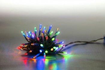 Reťaz svetelný 100 LED 5 m - farebná - transparent kábel