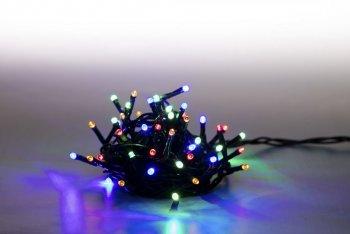Reťaz svetelný 100 LED 5 m - farebná - zelený kábel - 8 funkcií